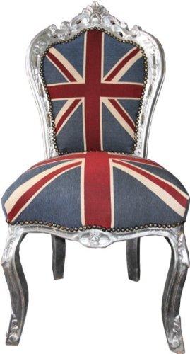 Barock Esszimmer Stuhl Union Jack Silber England Stuhl Englische