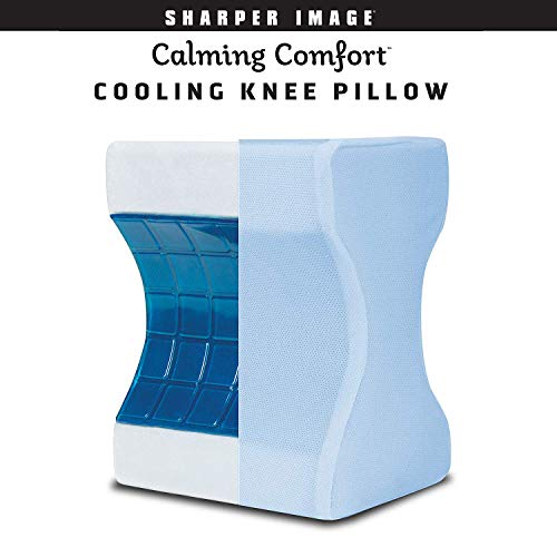 (Calming Comfort Cooling Knee Pillow by Sharper Image- Memory Foam with Cooling Gel- Helps Side Sleepers Align Spine)