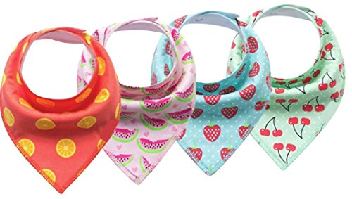 Baby Girls Bandana Drool Bibs - 4 Pack Baby Scarf Bib Set - Pet Bandanas Fruit Design Patterns - Absorbent for Drooling & Teething Babies - 100% Organic Cotton Gift ()
