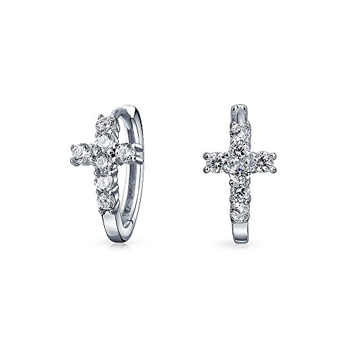 Small Cross Religious Kpop Huggie Hoop Earrings Men Pave Cubic Zirconia 925 Sterling Silver