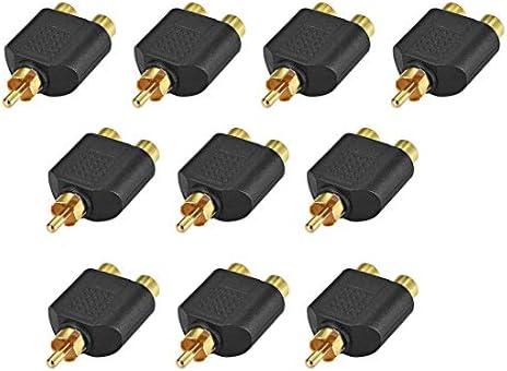 uxcell RCAオス-2 RCAメスコネクタ ステレオオーディオビデオケーブルアダプタースプリッター ブラック 10個