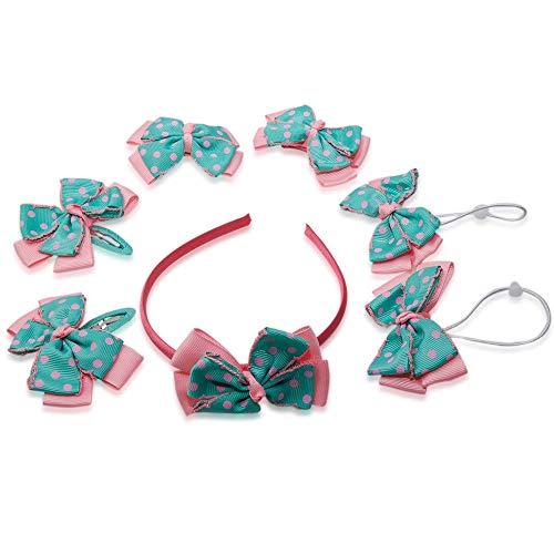 DeemoShop Children Accessories Stripe Printing Dot Star Hair Ropes Sweet Hairbands Gift Set Headdress Lovely Gift Box 7pcs/Sets