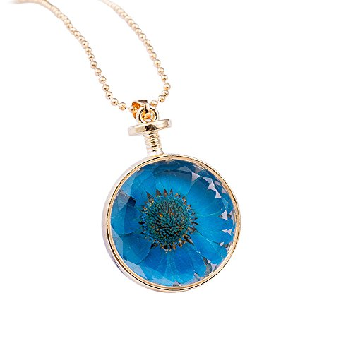 - Molyveva Fashion Pressed Flower Teardrop Pendant Necklace Glow Pendant Braided Cord Rope Necklace Chain