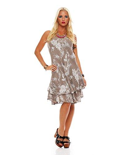 robe col d't en Coton V genou double Robe Plage floral longueur entirement ZARMEXX Cappuccino De couche imprim dRqxwPd5