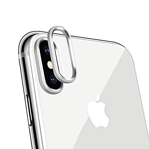 絶滅させるすずめエスカレート【2枚セット】 ElekFX iPhone Xカメラレンズ保護リング iPhoneXレンズガード アルミ 合金素材 傷防止 高級感あり アイフォンX対応(シルバー)