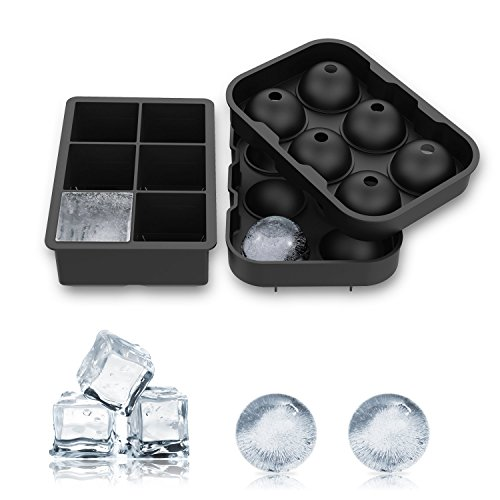 ALTMAN 2 Pack Ice Cube Trays Silicone Sphere Ice Molds Ice Ball Maker Tray for Whiskey Cocktail Soft Drinks- Make Ice Ball 6 X 4.8cm, Black