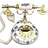 Modern Cool Decorate Classic Old Model Timey School Antique Vintage Novelty Looking Style Retro Touch Tone Dial Fashion Nostalgic House Office Blue Flower Porcelain Landline Desk Phone Replica Clone