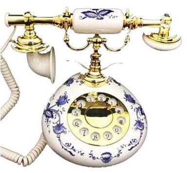 Golden Eagle Blue Delft Flower Nostalgic Porcelain Phone (Porcelain Phone)