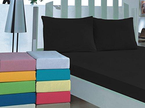 Bettlaken 100% Baumwolle 150x240cm 26 Farben Betttuch Haustuch ohne Gummizug Schwarz