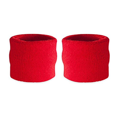 Suddora Kids Wrist Sweatbands - Athletic Cotton Terry Cloth Sports Wristbands for Kids (Pair) (Red)