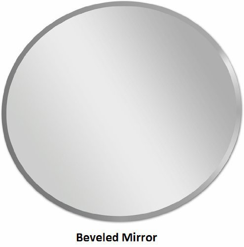 """Fab Glass and Mirror 799456351766 Round Beveled Polished Frameless Wall Mirror with Hooks,24"""""""