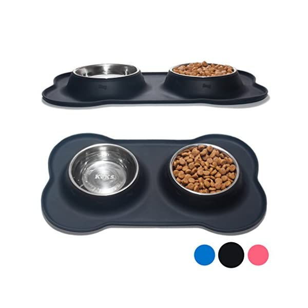KEKS Small Dog Bowls Set of 2 Stainless Steel Bowls with Non-Skid & No Spill Silicone Stand for Small Dogs Cats Puppy & Collapsible Travel Pet Bowl 5