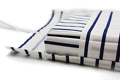(Bedscape 100% Long-Staple Percale Cotton Sheet Sets - Made in Israel - Chemical-Free (Blue Stripes, Twin))