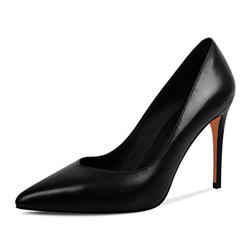 OL Pointu Talons Sexy D'affaires Chaussures Hauts Bout Femmes Black Noir Mesdames En Sandales Classique Cuir Stiletto Travail Pompes wZfn1UqO