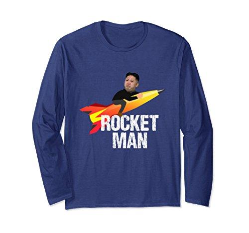 North Korea Halloween Costume (Unisex Trump Rocket Man Kim Jong Un North Korea Funny Shirt Large Navy)
