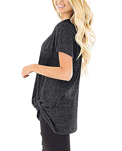 d206c8f1e53 ZILIN Women's Cold Shoulder T-Shirt Long Sleeve Knot Twist Front Tunic Tops  (WW-Grey, M)