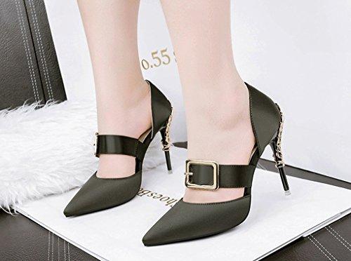 Sexy Sandalias Zapatos Tacón Verde Alto Versión de estrechas Tacón de Club de de Moda Coreana Sandalias Nocturno Sandalias LBLX qfwvtv