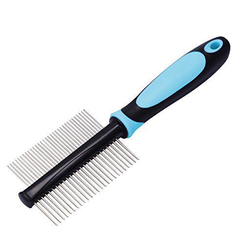 Happy & Polly Tera Pet Comb Double Side Grooming Brush Stainless Steel Pin Fur Shedding Comb for Removing Pets' Matted Fur, Knots and Tangles with Long Short Hair (Double-Side)