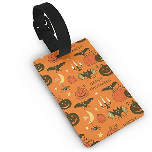 AMRANDOM Luggage Tag - Happy Halloween Party Patterns - Unique Bag Tag Travel ID Labels Tag for Baggage Suitcases Travel Accessories - 1 Pack -