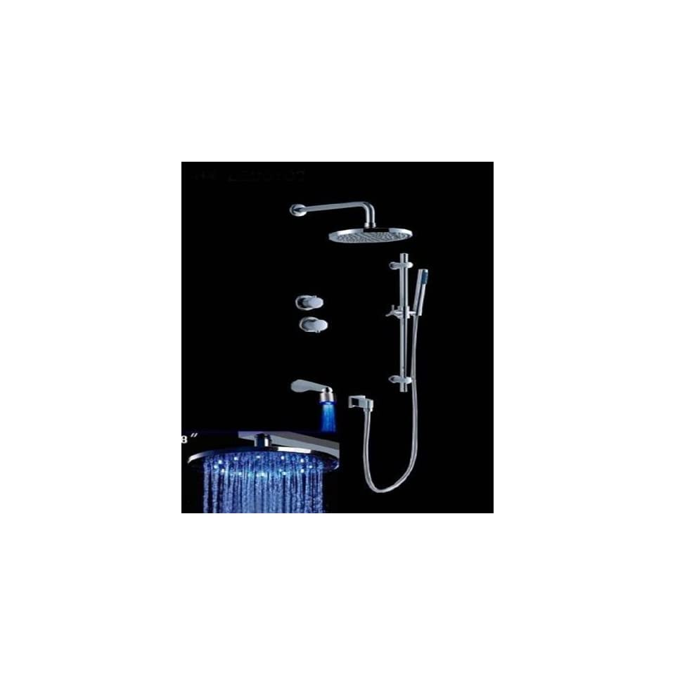 Faucetland 024002034 2 Handle Wall Mount Rain Shower Faucet with Adjustable Slide Bar And Build in LED Lights,Chrome