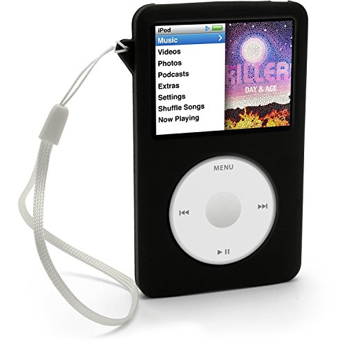 iGadgitz Black Silicone Skin Case Cover for Apple iPod Classic 80GB, 120GB & Latest 6th Generation 160gb launched Sept 09 + Screen Protector & Lanyard