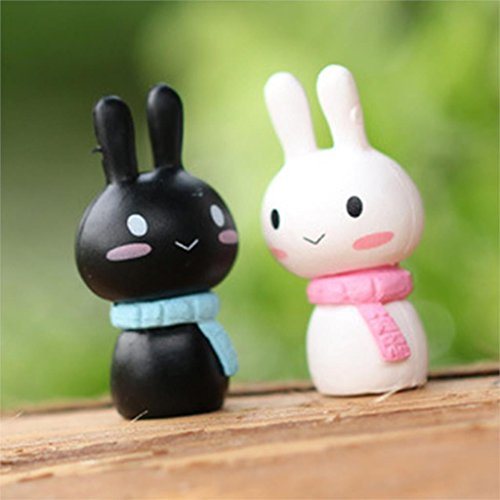 Fairy Figurines Cute Rabbit Garden Artificial Resin Micro Landscape For Home Decoration 2pcs (Garden Style Rabbit)