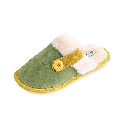 Ularma Algodón de zapatillas, Suave algodón cubierta caliente antideslizantes zapatos Verde