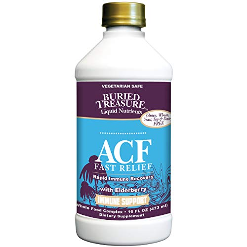 Buried Treasure ACF Fast Relief Rapid Immune Recovery with 1,000 mg Vitamin C, Elderberry, Echinacea and Herbal Blend for Complete Immune Support Dietary Supplement, 16 oz from Buried Treasure