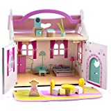 CharaHome Wooden Dollhouse, Doll Cottage with Furniture, 18 Piece / pcs Portable Sweet Doll House