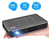 Haidiscool Pico Portable Projector, Mini Pocket Video Smart Phone DLP Android Projector 300 ANSI Lumen with Bluetooth/USB/HDMI/2GB RAM, Support 1080P 4K Movie, for Outdoor/Home Cinema -Yellow