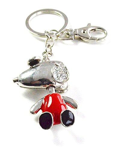 PT141 - Llavero/joya de Bolsa Snoopy rojo pedrería plateado ...
