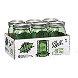 Ball Heritage Collection Quart Jars with Lids and Bands, Green, Set of 6