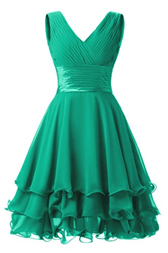 Dresstore Women's Chiffon Sleeveless Ruched Short Bridesmaid Prom Dresses Gowns Green US 10