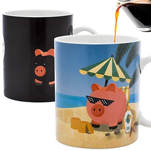 InGwest - New Year Pig Coffee Mug. Pig on the Beach Mug! Changing Color Mug. Heat Sensitive Mug. (Pig Mugs Coffee)