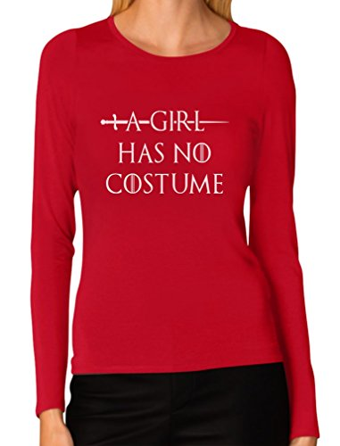 A Girl Has No Costume - Funny Halloween Women Long Sleeve T-Shirt Large Red