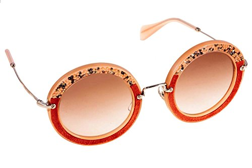 Miu Miu MU08RS TV14K0 Pink MU08RS Round Sunglasses - Round Miu Sunglasses 49mm Miu