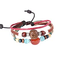 Fashion Plaza Christmas Gifts Hand Crafted Bead Leather Bracelet - Adjustable ¨CL51