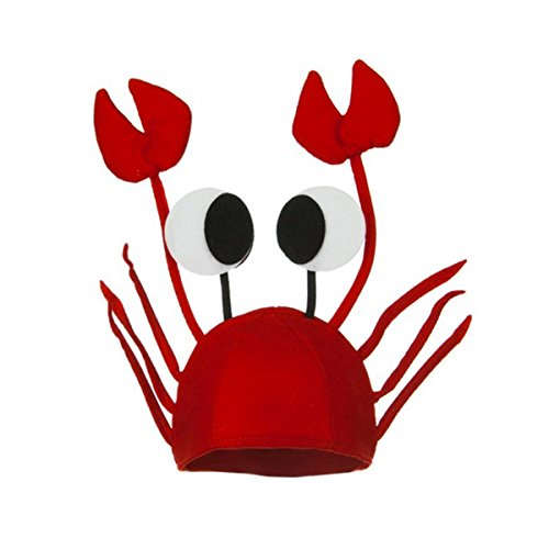 Men's Women's Novelty Hat 3D Lobster Crawfish Crab Seafood Hat With Claws (Crab) ()