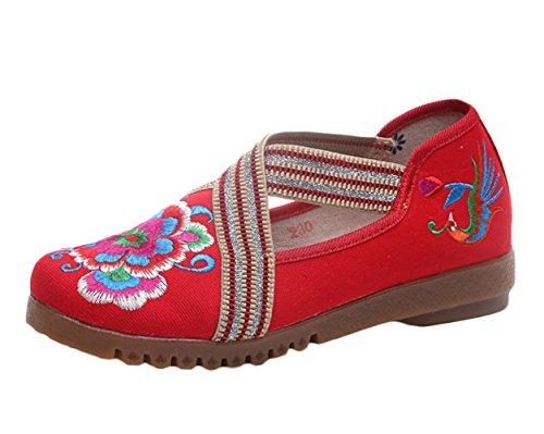 Insun Damen Ballerinas Espadrilles Blume Stickerei Slipper Flats Schuhe Rot