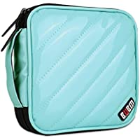 BUBM PU Smooth Leather Cover 32 Disc Case CD DVD Wallet Storage Organizer Travel Bag, CD / DVD Bag (Light Blue)