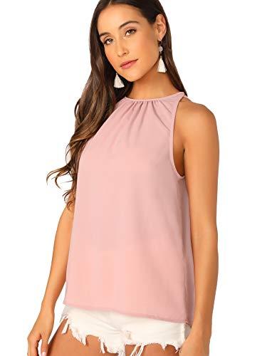 Verdusa Women's Casual Sleeveless Keyhole Back Halter Neck Cami Top Pink M