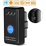 OBD2 Auto Diagnostic Scanner, OBDII Bluetooth 4.0 Vehicle Engine Fault Code Reader Support All OBD2 Protocol Compatible with Android, iOS, Windows Suitable for Most Cars