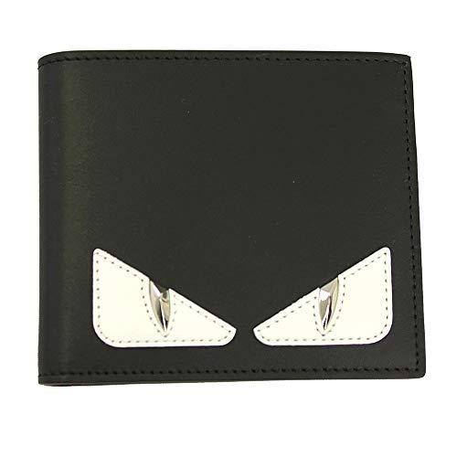Fendi Bugs Eye Men's Black Leather Bi-fold Wallet 7M0169 A3DO