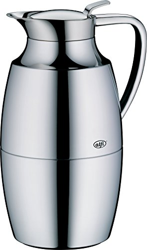 alfi Pallas Glass Vacuum Chrome Plated Brass Thermal Carafe for Hot and Cold Beverages, 1.0 L, Chrome by Alfi