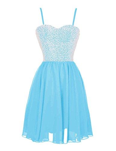 Dressystar Girls' Short Chiffon Party Dresses Beading Bodice Spaghetti Size 10 Blue