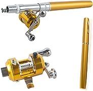 Pevor Mini Portable Pocket Fish Pen Shape Aluminum Alloy Pole Reel Fishing Rod