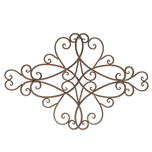 Adeco Black Scrolled Metal Wall Art Decoration, Rhombus Living Room Decor, 24