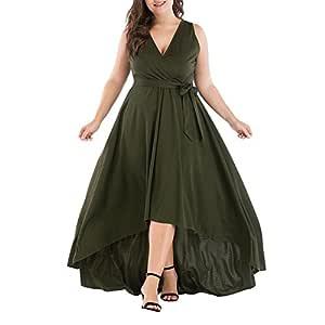 heresell Vestidos Largos Verdes Vestido de Corbata con Cuello en V ...