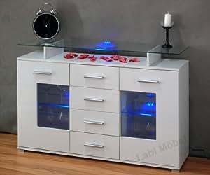 Labi Möbel–Cómoda Viva Aparador con estantes de cristal, con iluminación LED 110cm Color Blanco Brillante