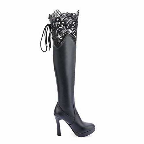 Latasa Mujeres Lace High Heels Lace Up Over The Knee Dress Botas Negro